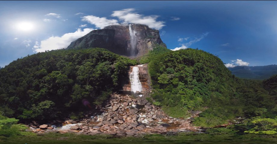 A video thumbnail showing a gorgeous waterfall against broad daylight.