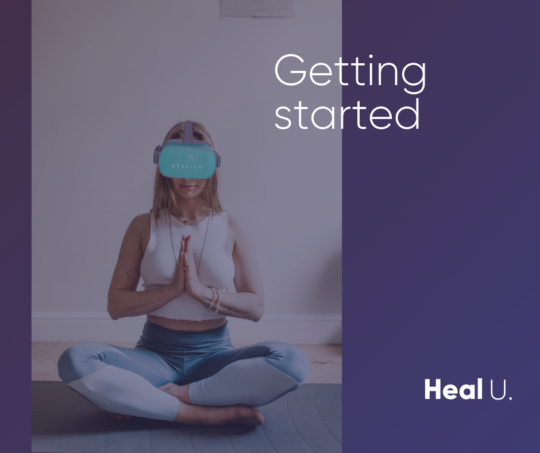 Women wearing oculus go headset in the hands folded meditation pose with getting started text overlay