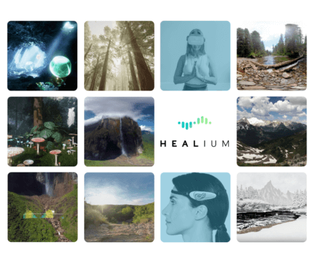 compilation of screenshots from the various virtual reality experiences on the Healium app