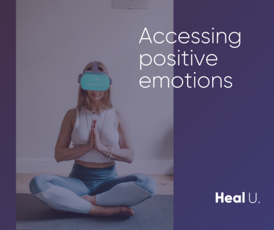 woman wearing oculus headset with hands clasped in the meditation pose with text overlay