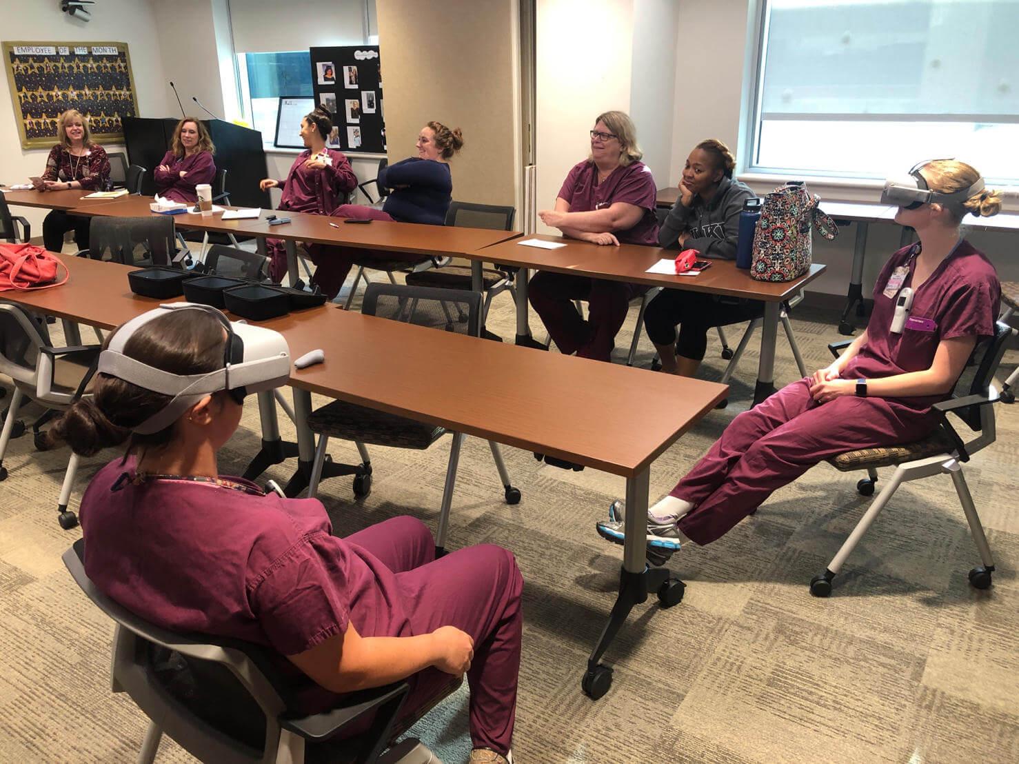 Labor nurses at Inova use a virtual reality experience