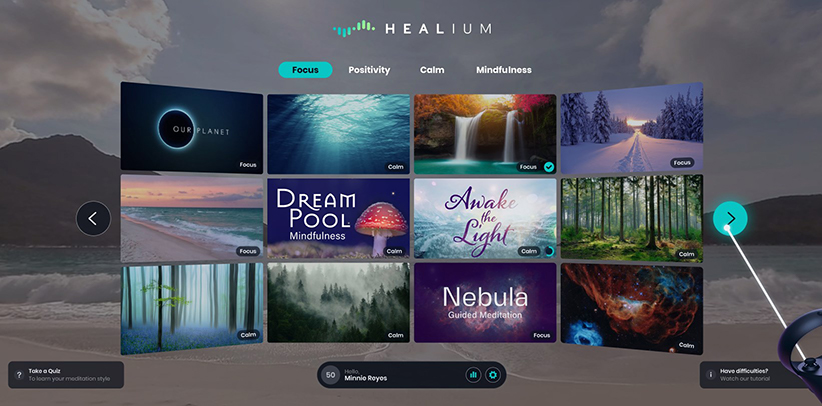 Healium virtual reality dashboard