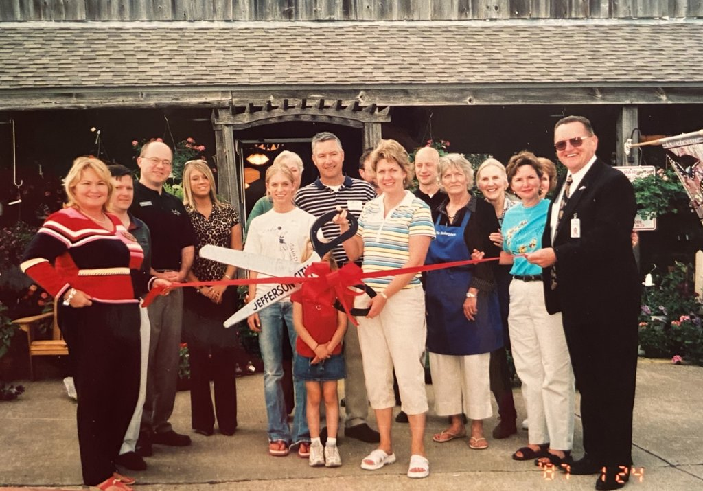 Helen Fisher and family at a ribbon cutting for her business