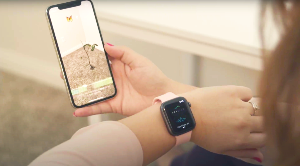 Wendy views the Healium AR app while using her Apple Watch